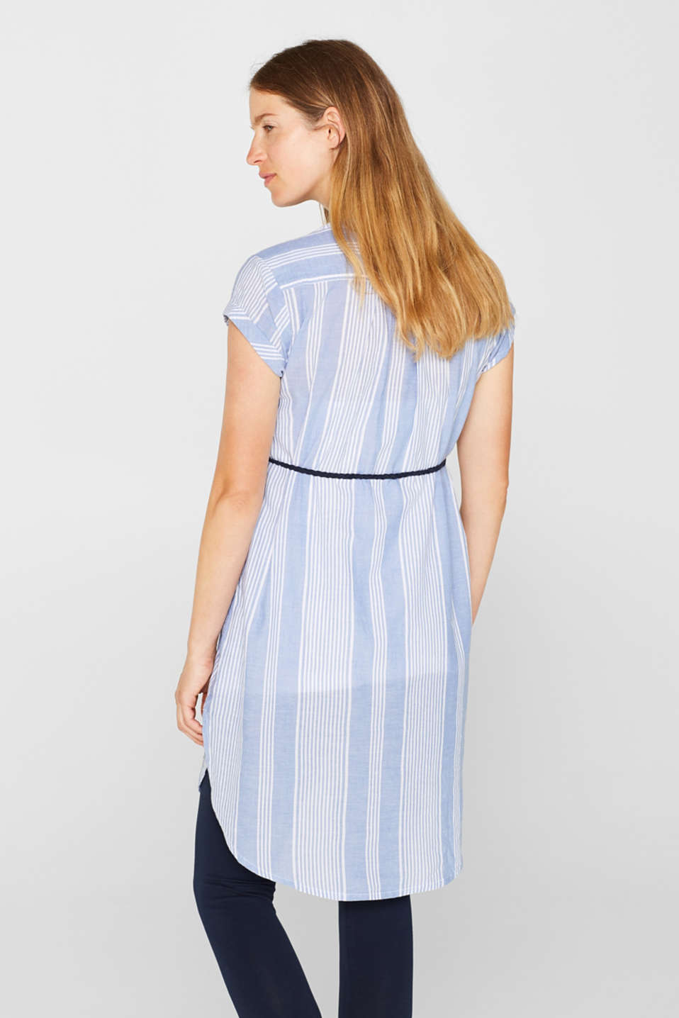 Tunic dress with a belt, 100% cotton, LCOFF WHITE, detail image number 3