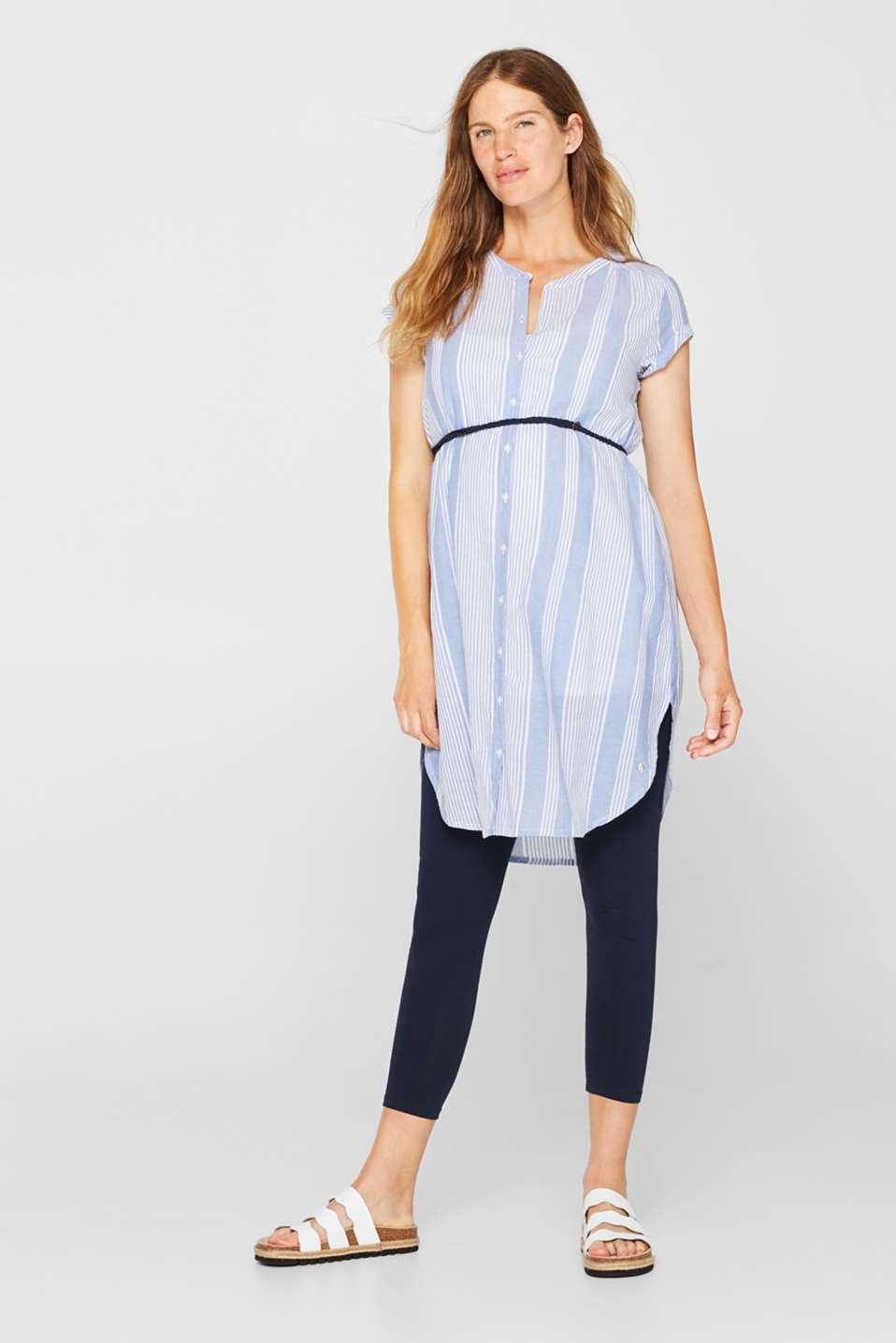 Tunic dress with a belt, 100% cotton, LCOFF WHITE, detail image number 1
