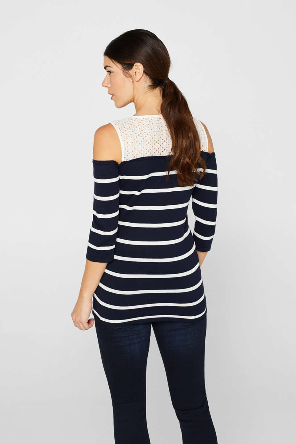 Off-the-shoulder jumper with lace, 100% cotton, LCNIGHT BLUE, detail image number 3