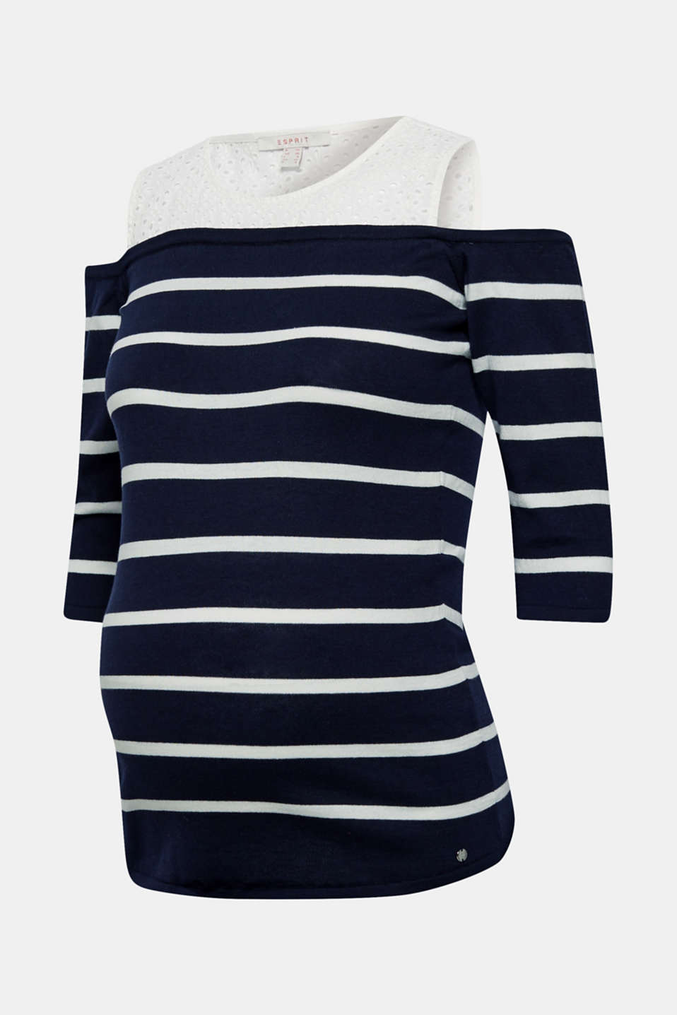 Off-the-shoulder jumper with lace, 100% cotton, LCNIGHT BLUE, detail image number 5