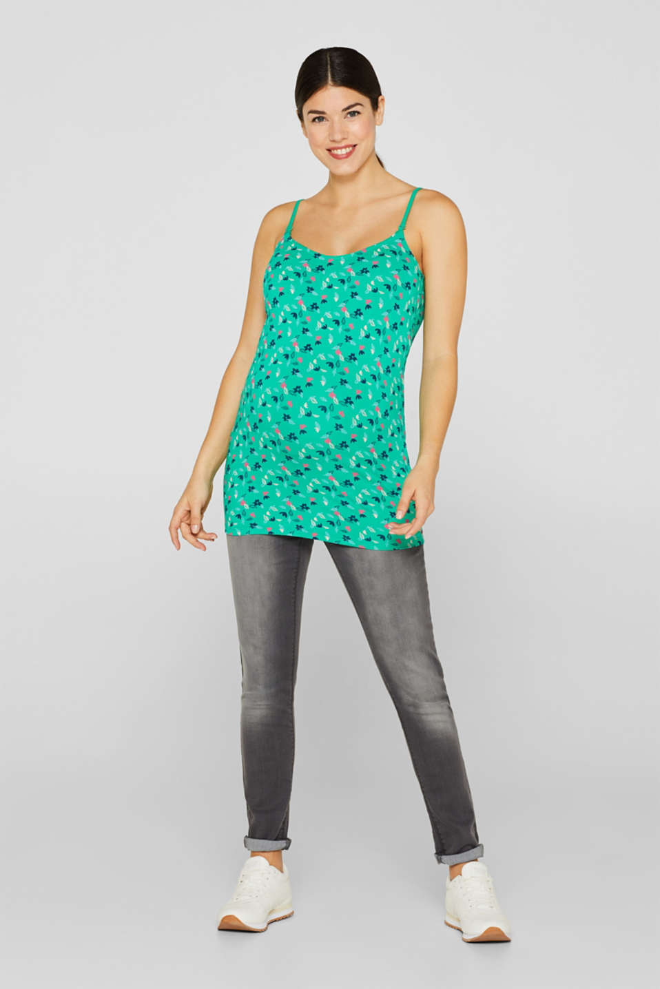 Stretch nursing top with a print, LCEMERALD GREEN, detail image number 2