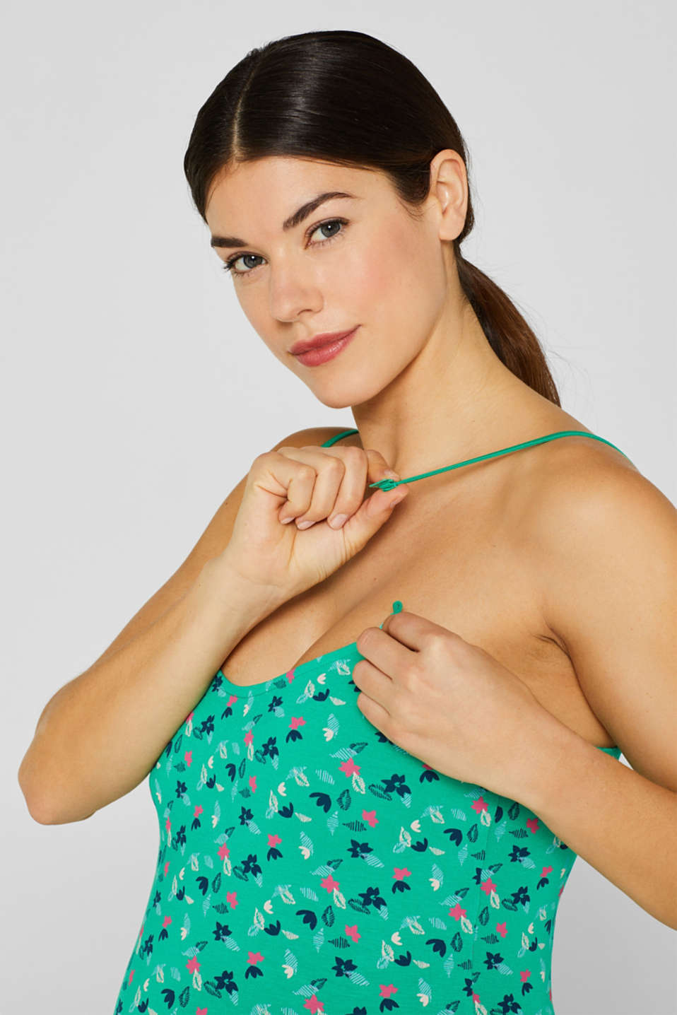 Stretch nursing top with a print, LCEMERALD GREEN, detail image number 3