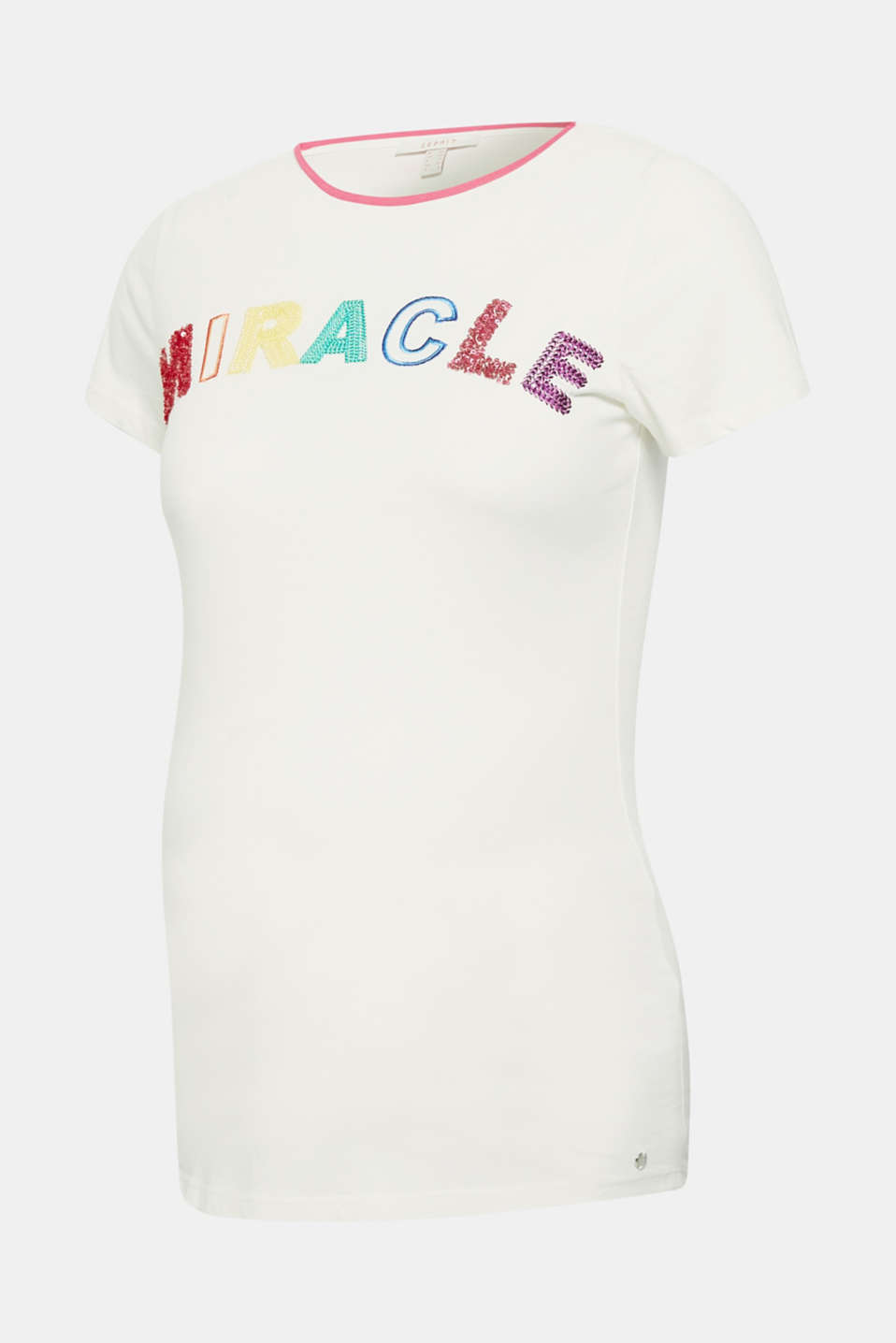 T-shirt with reversible sequins, made of blended cotton, LCOFF WHITE, detail image number 0