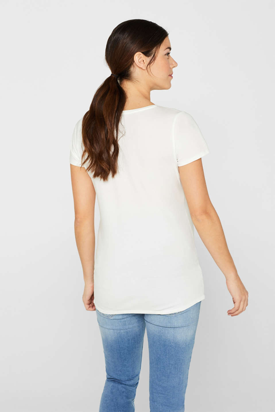 Comfy and stretchy printed T-shirt, LCOFF WHITE, detail image number 3