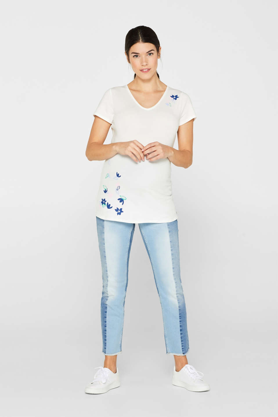 Comfy and stretchy printed T-shirt, LCOFF WHITE, detail image number 1