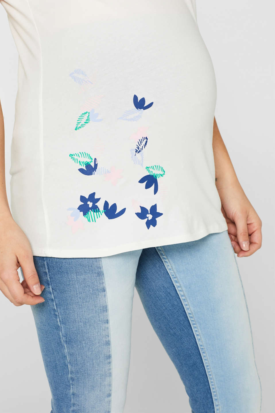 Comfy and stretchy printed T-shirt, LCOFF WHITE, detail image number 2