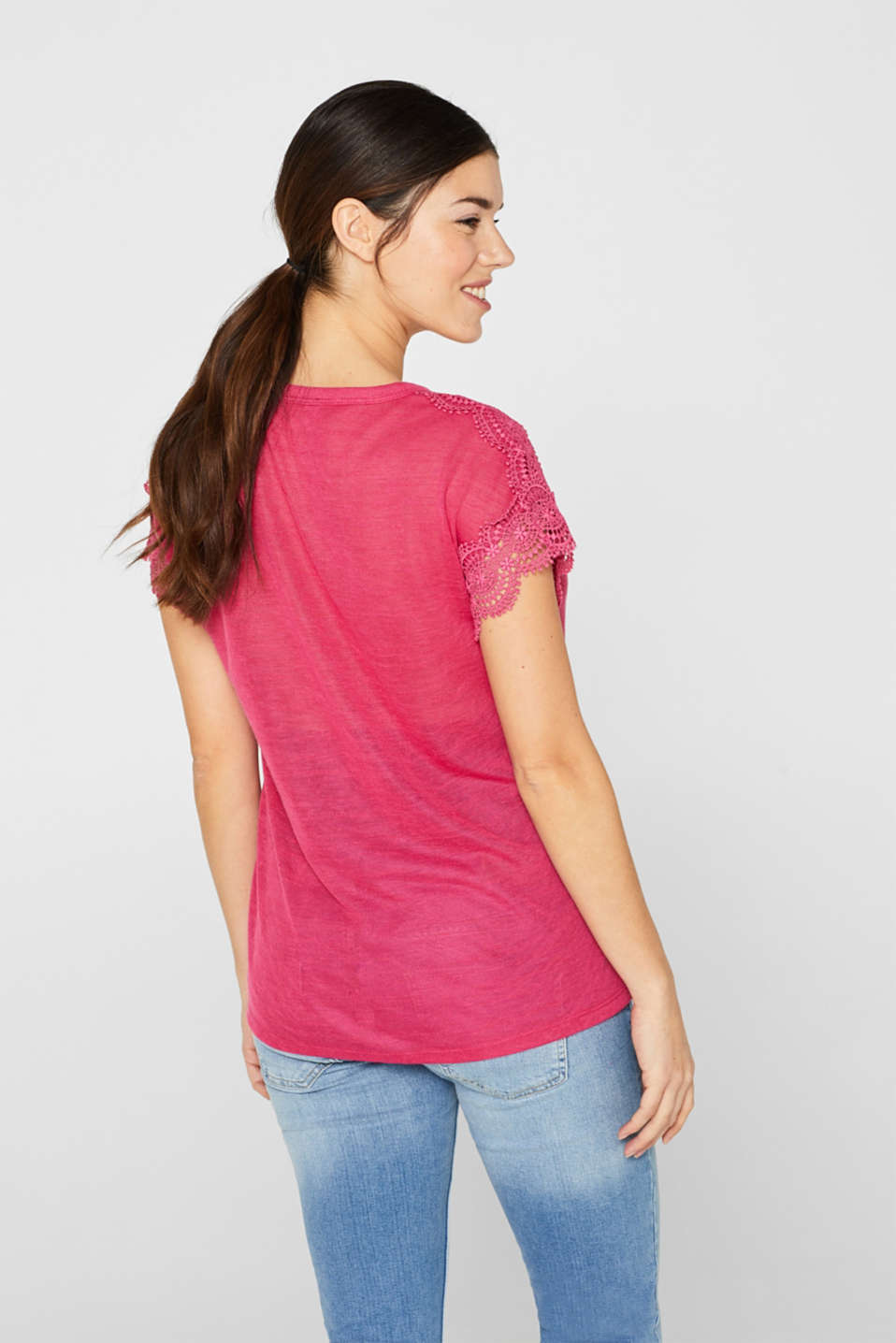Lace-trimmed slub tee, LCPINK FUCHSIA, detail image number 3