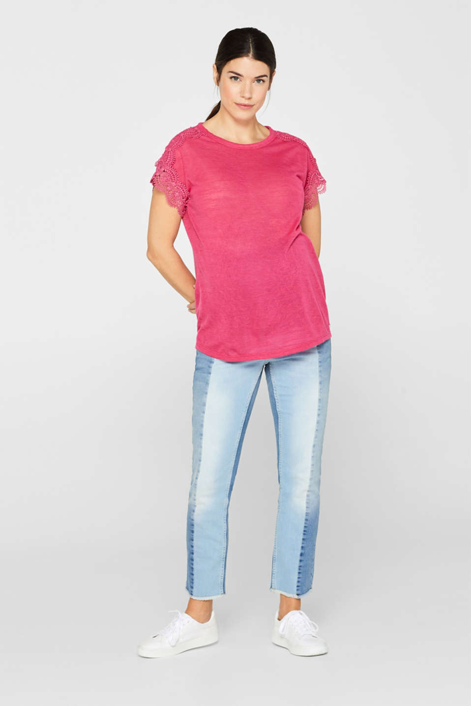Lace-trimmed slub tee, LCPINK FUCHSIA, detail image number 1