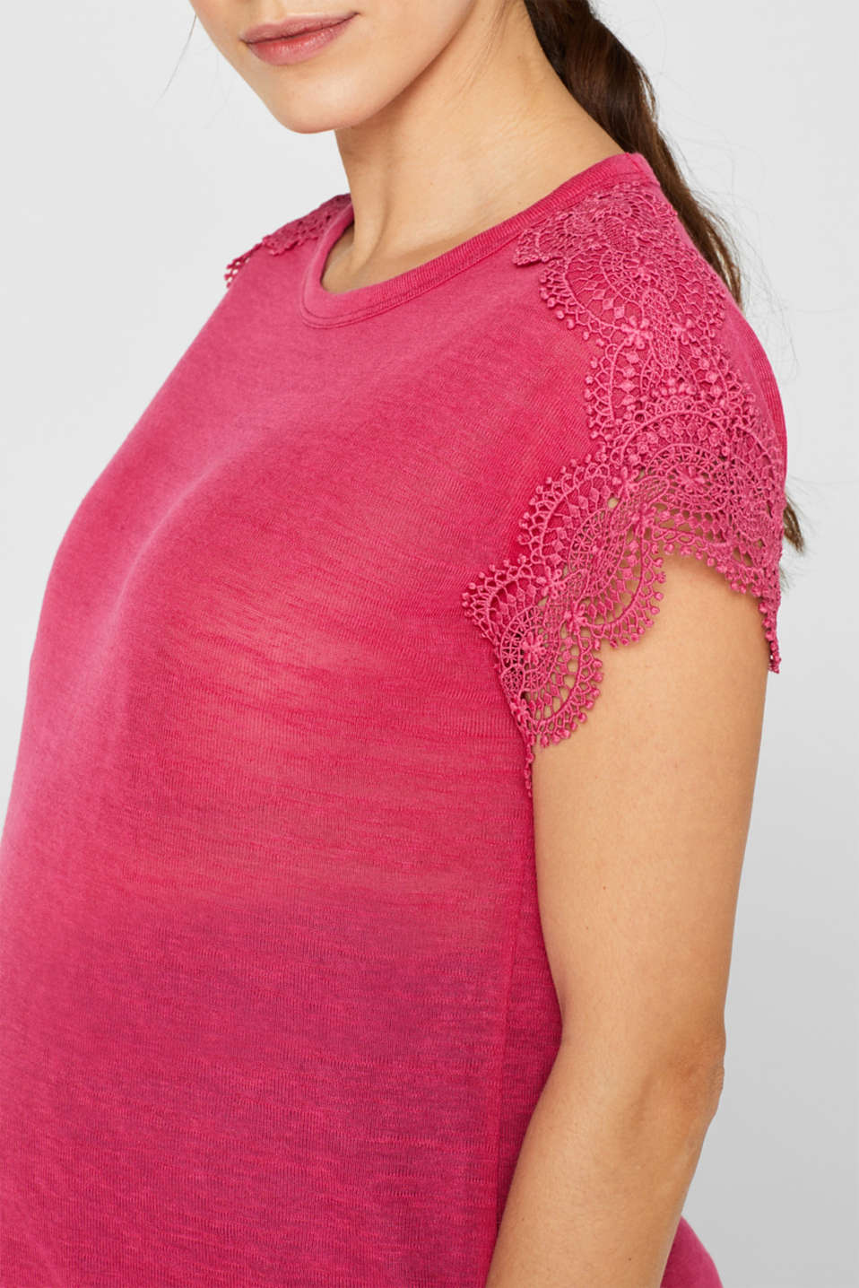 Lace-trimmed slub tee, LCPINK FUCHSIA, detail image number 2