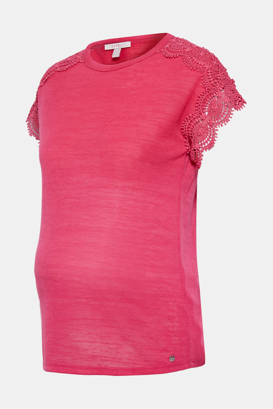 Lace-trimmed slub tee, LCPINK FUCHSIA, detail image number 5