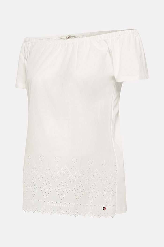 Off-the-shoulder tee with broderie anglaise