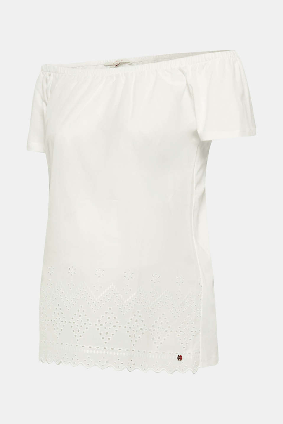 Off-the-shoulder tee with broderie anglaise, LCOFF WHITE, detail image number 1