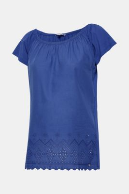 Off-the-shoulder tee with broderie anglaise, LCDARK BLUE, detail