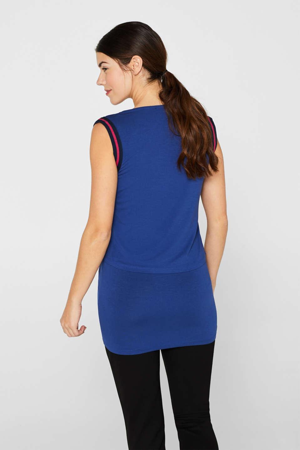 Layered nursing T-shirt, LCDARK BLUE, detail image number 1
