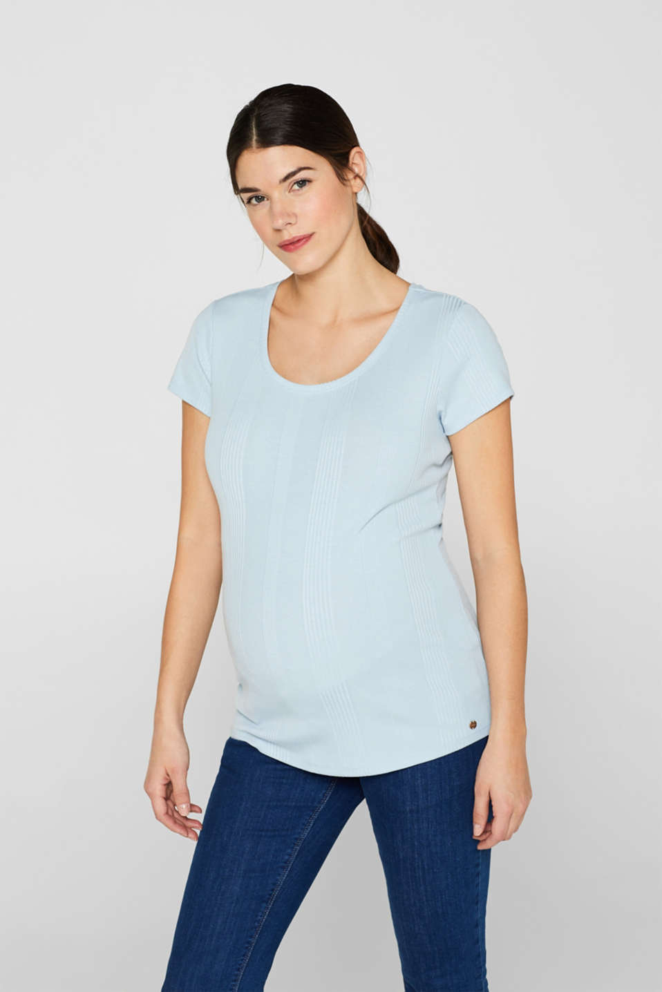 Esprit - Shirt met stretch en strepenstructuur