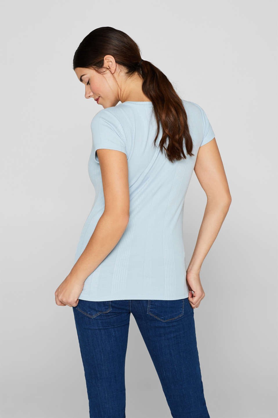 Stretch T-shirt with textured stripes, LCLIGHT BLUE, detail image number 3