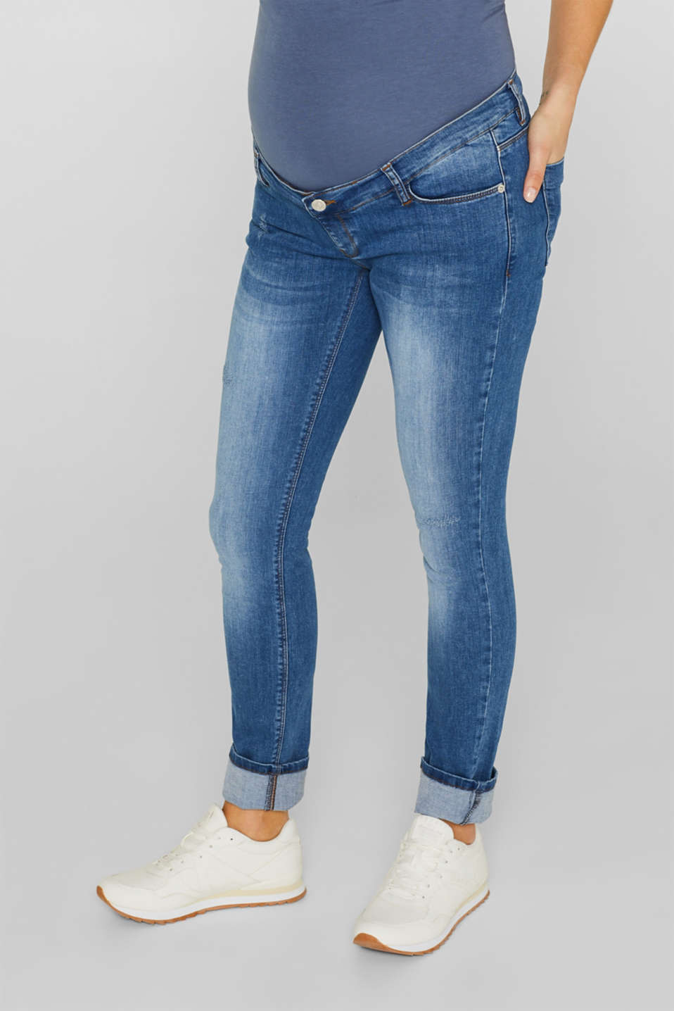 Stretch jeans with an over-bump waistband, LCMEDIUM WASH, detail image number 0