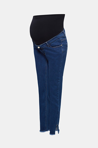 Ankle-length stretch jeans with an above-bump waistband