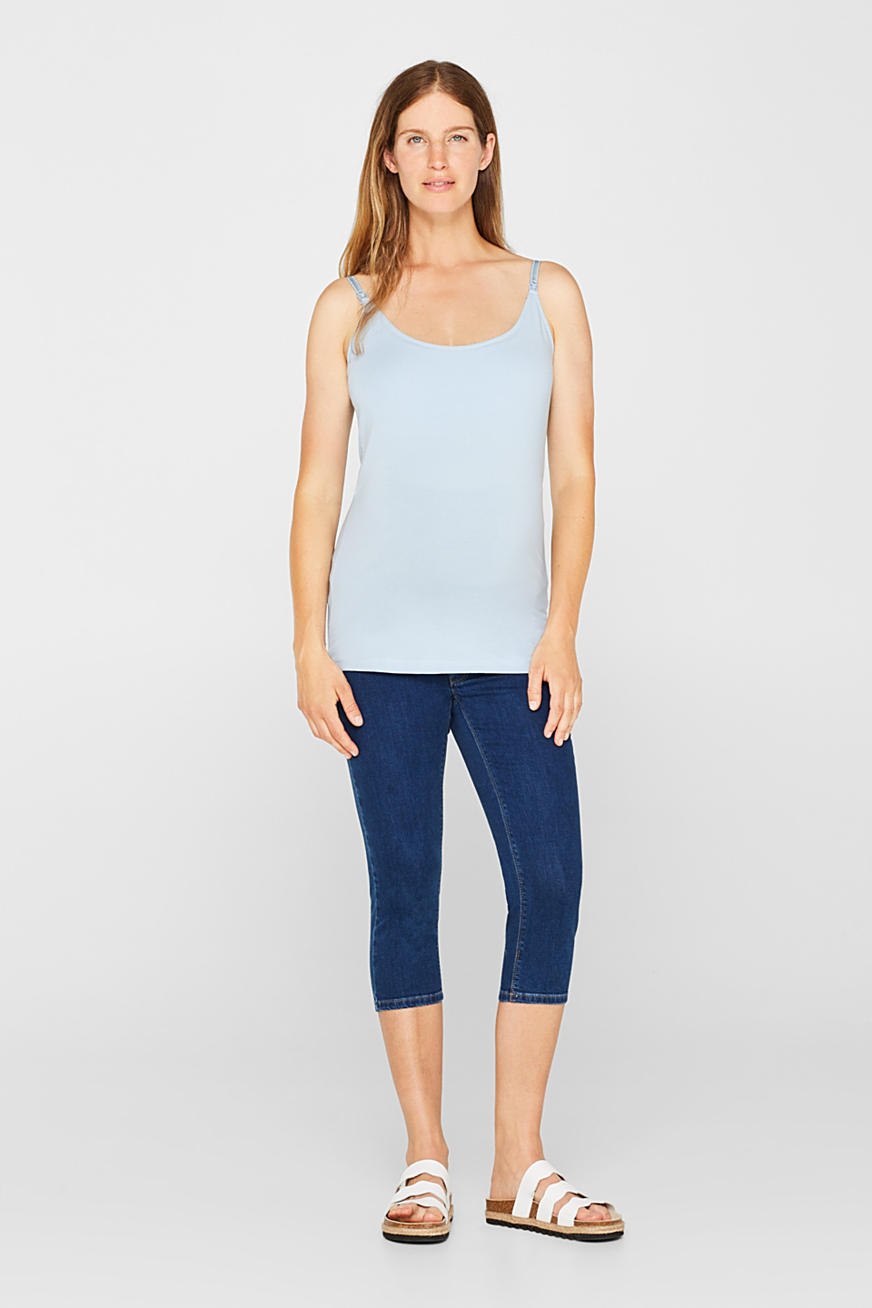 Capri-jeans met stretch en band over de buik