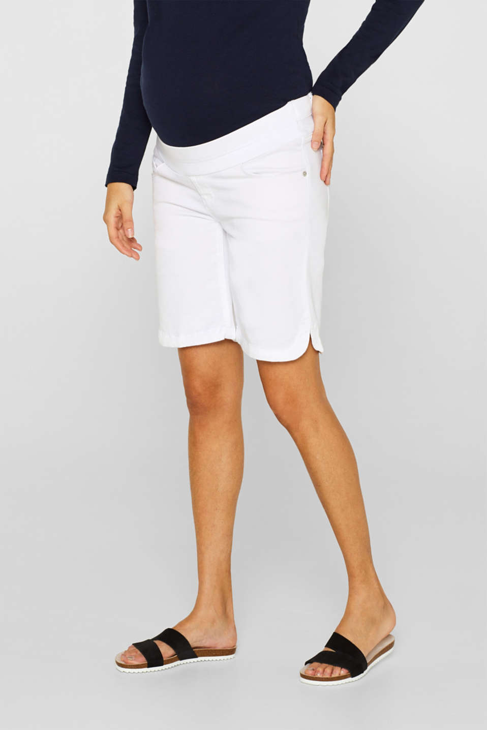Stretch cotton shorts with an under-bump waistband, LCWHITE, detail image number 6