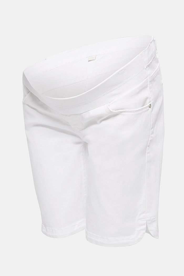 Stretch cotton shorts with an under-bump waistband, WHITE, detail image number 0