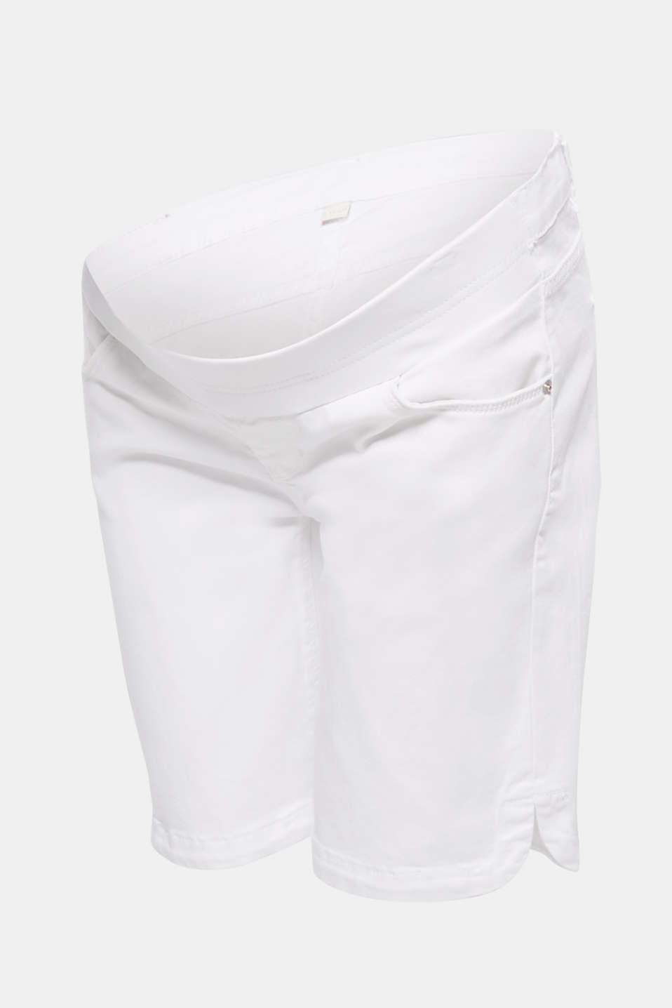 Stretch cotton shorts with an under-bump waistband, LCWHITE, detail image number 7