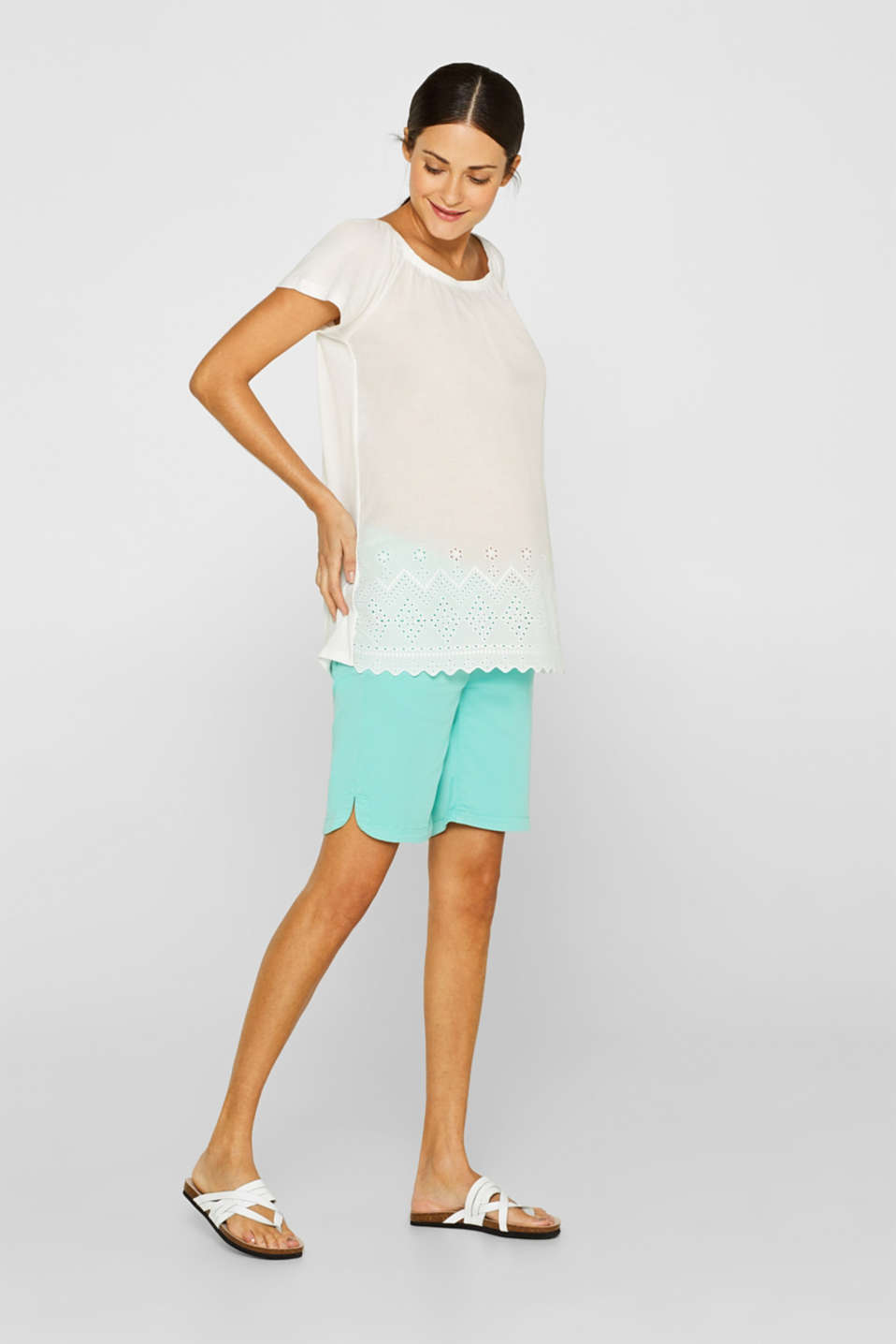 Stretch cotton shorts with an under-bump waistband, LCLIGHT AQUA GRE, detail image number 0