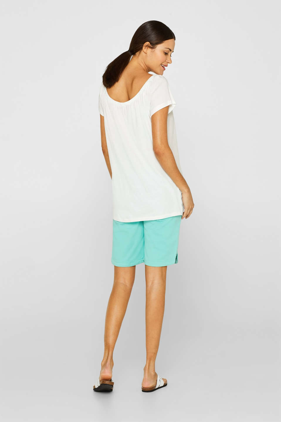 Stretch cotton shorts with an under-bump waistband, LCLIGHT AQUA GRE, detail image number 3