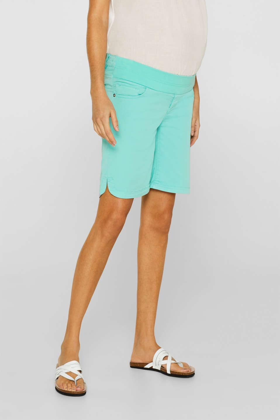 Stretch cotton shorts with an under-bump waistband, LCLIGHT AQUA GRE, detail image number 6