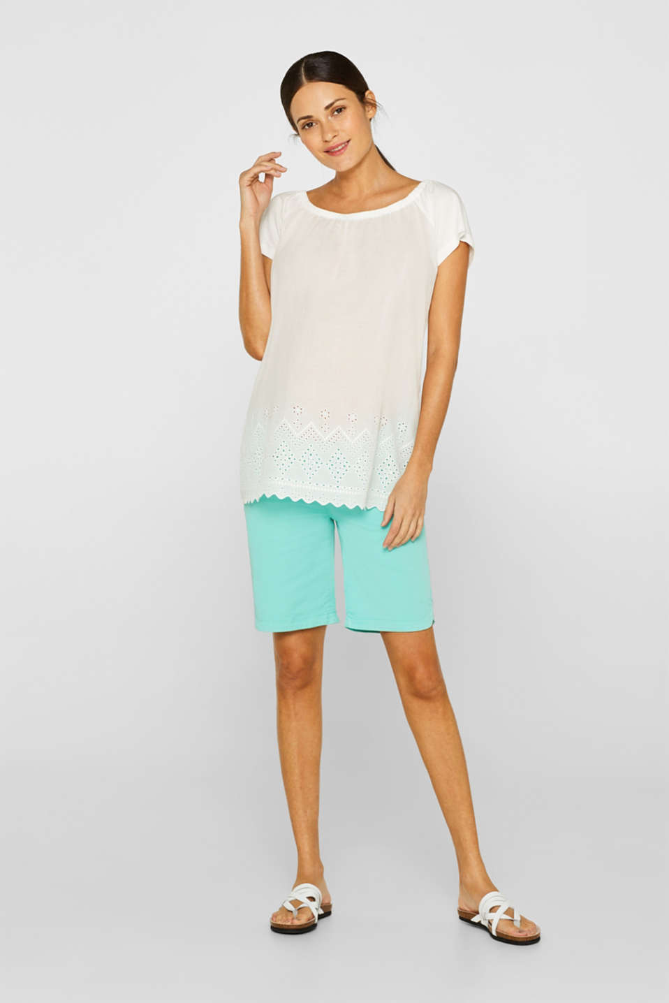 Stretch cotton shorts with an under-bump waistband, LCLIGHT AQUA GRE, detail image number 1