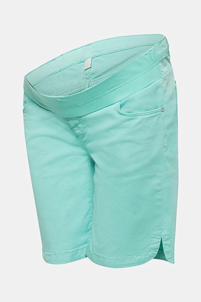 Stretch cotton shorts with an under-bump waistband, LIGHT AQUA GREEN, detail image number 0