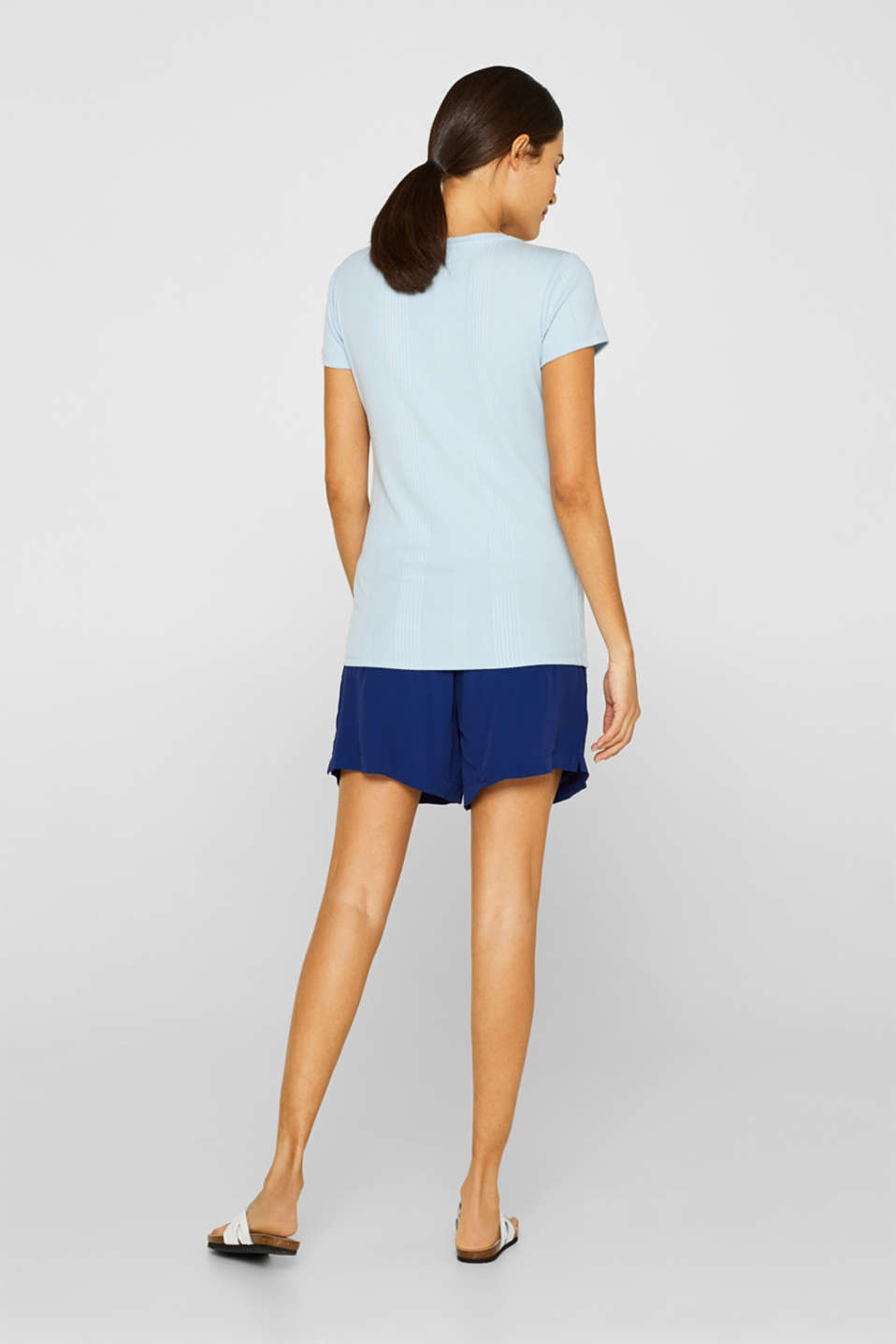 Crêpe shorts with a tie-around belt and under-bump waistband, LCDARK BLUE, detail image number 3