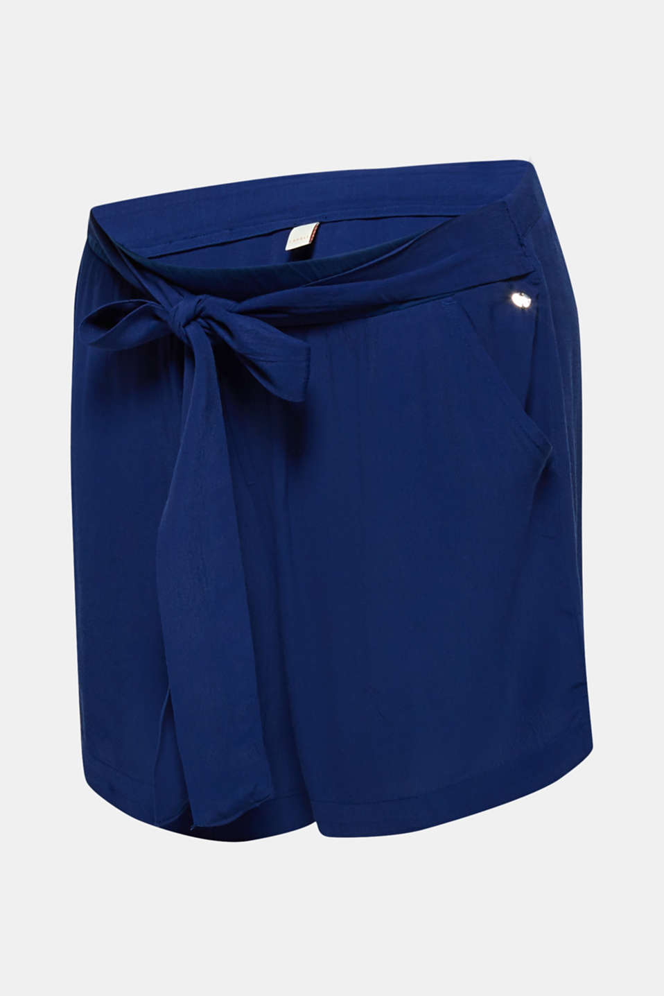 Crêpe shorts with a tie-around belt and under-bump waistband, LCDARK BLUE, detail image number 7