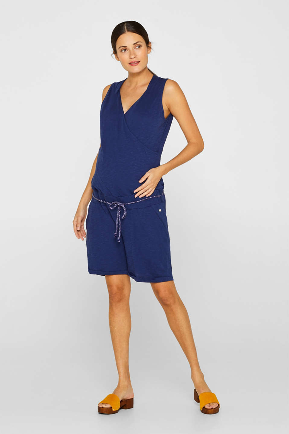 Esprit - Jersey jumpsuit with an under-bump waistband, 100% cotton
