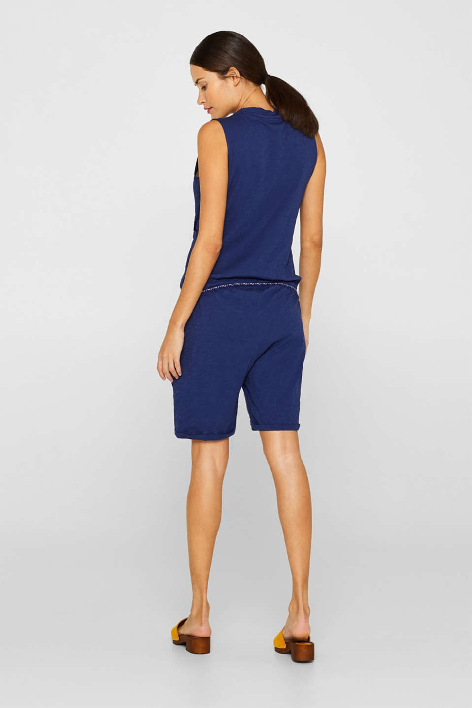 Jersey jumpsuit with an under-bump waistband, 100% cotton, LCDARK BLUE, detail image number 2