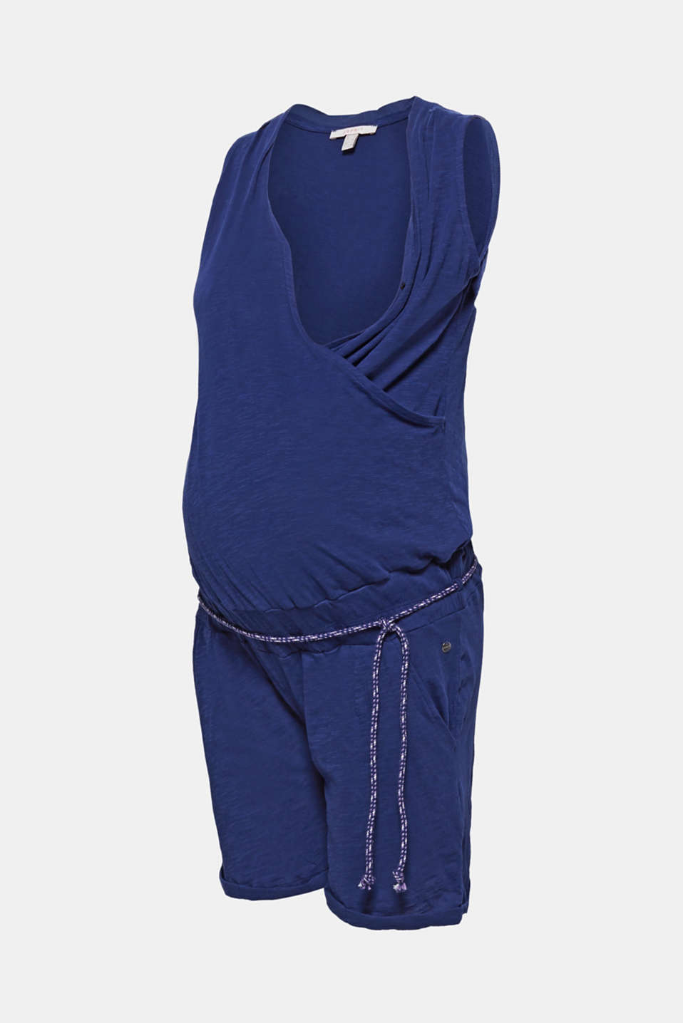 Jersey jumpsuit with an under-bump waistband, 100% cotton, LCDARK BLUE, detail image number 5