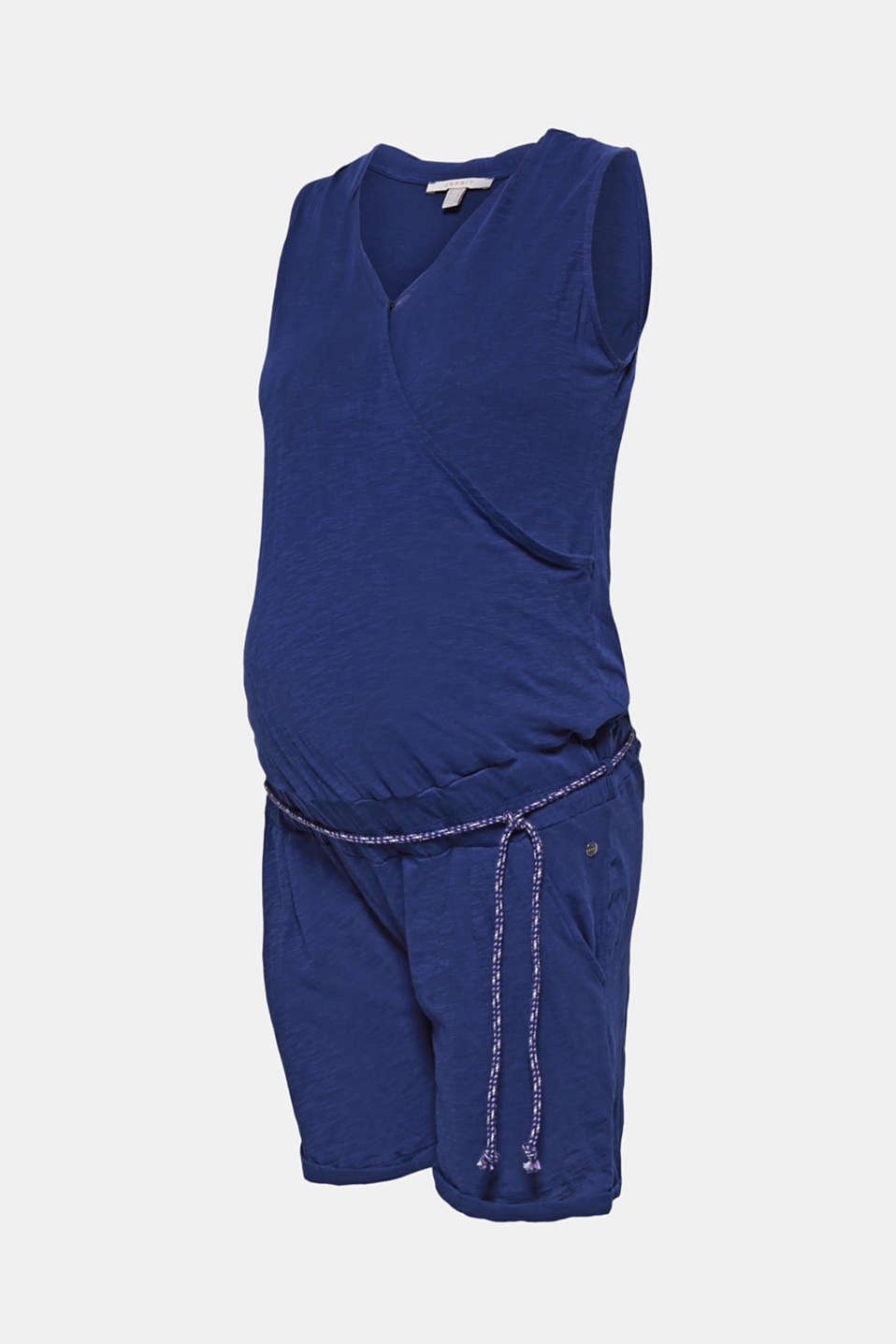 Jersey jumpsuit with an under-bump waistband, 100% cotton, LCDARK BLUE, detail image number 7