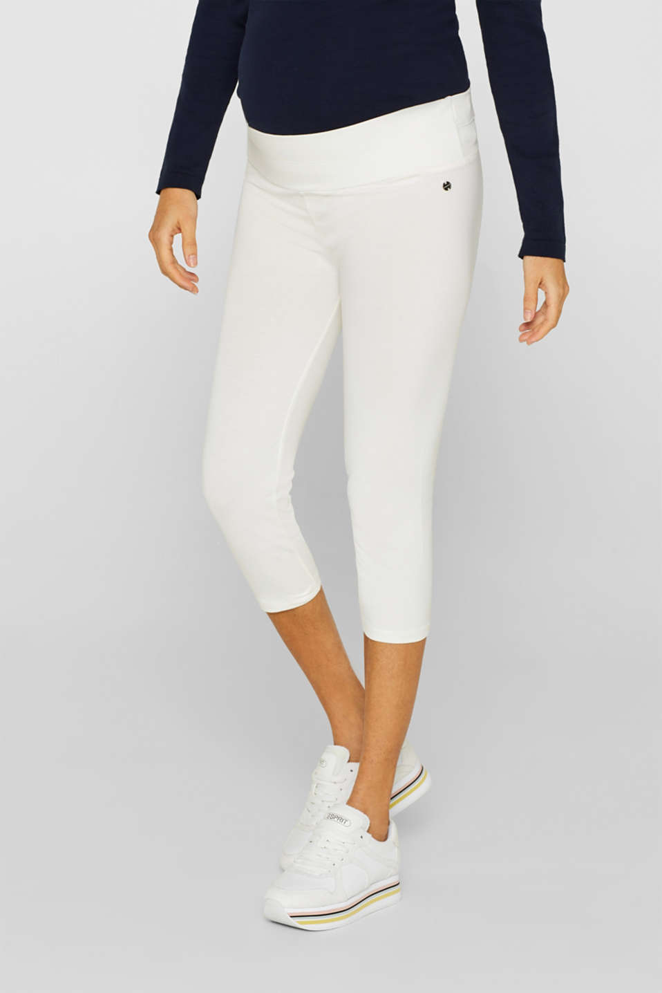 Capri leggings with a supporting, below-bump waistband, LCOFF WHITE, detail image number 1