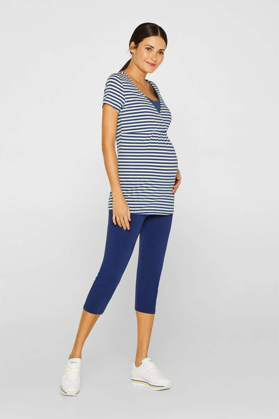 Capri leggings with a supporting, below-bump waistband, LCDARK BLUE, detail image number 0