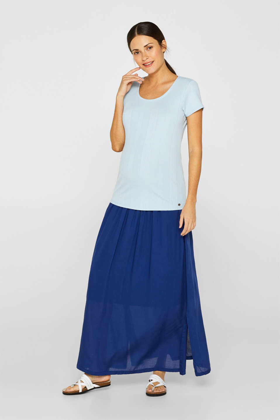 Woven maxi skirt with a below-bump waistband, LCDARK BLUE, detail image number 0