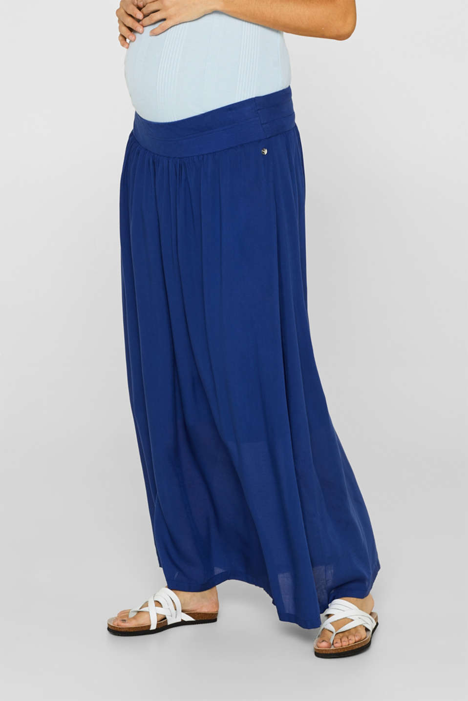Woven maxi skirt with a below-bump waistband, LCDARK BLUE, detail image number 5