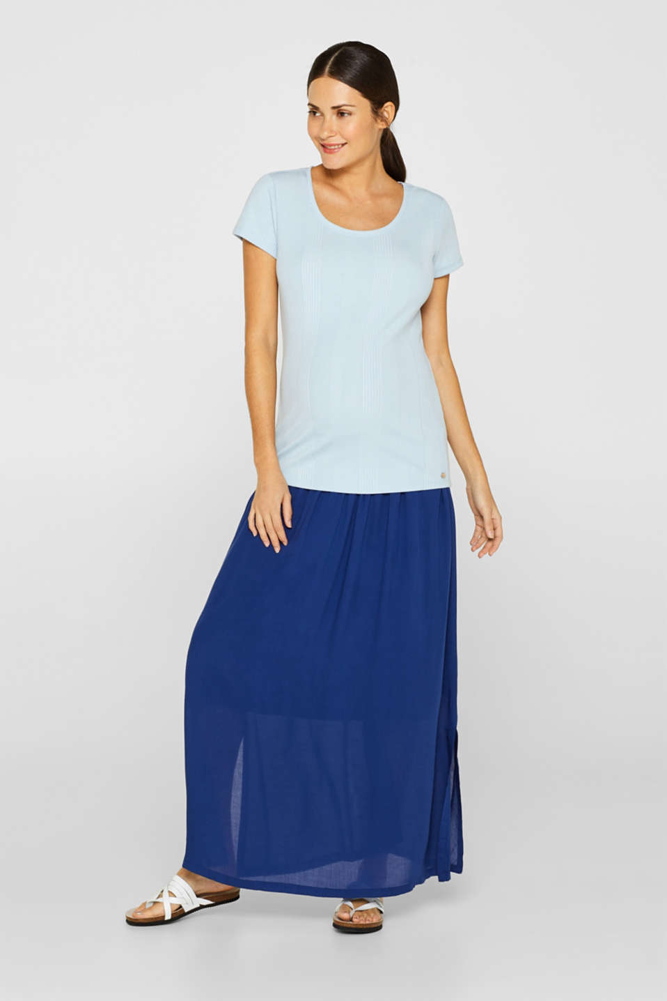 Woven maxi skirt with a below-bump waistband, LCDARK BLUE, detail image number 1