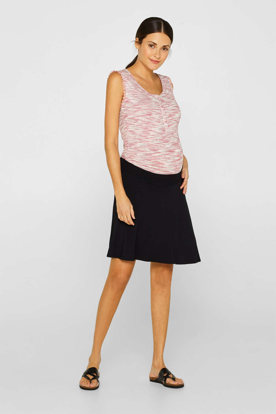 Stretch jersey skirt with a wide elasticated waistband, LCBLACK, detail image number 1