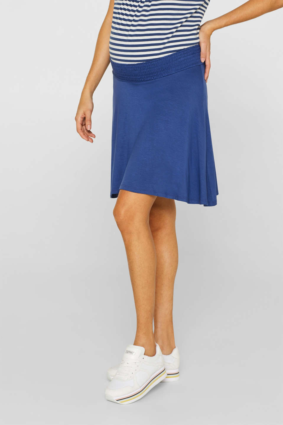 Stretch jersey skirt with a wide elasticated waistband, LCDARK BLUE, detail image number 6
