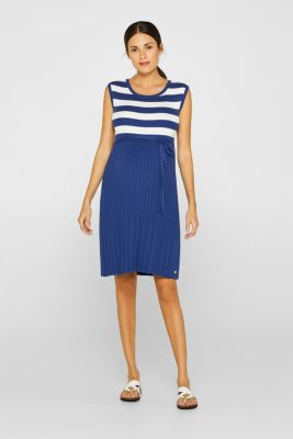 Fine-knit dress with stripes and a pleated skirt, LCDARK BLUE, detail