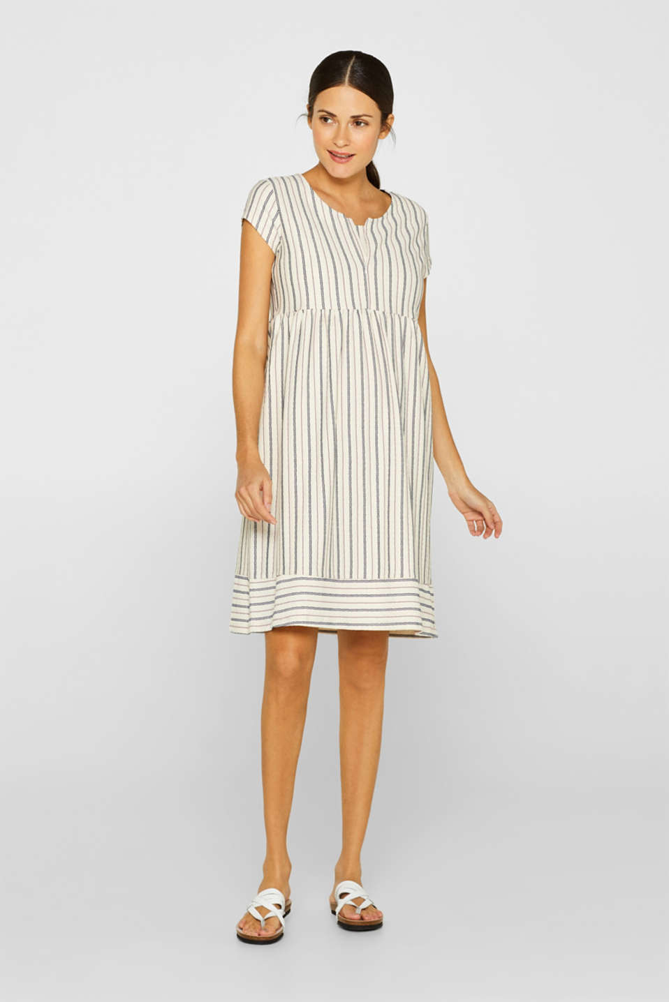 Woven nursing dress with a textured pattern, LCOFF WHITE, detail image number 1