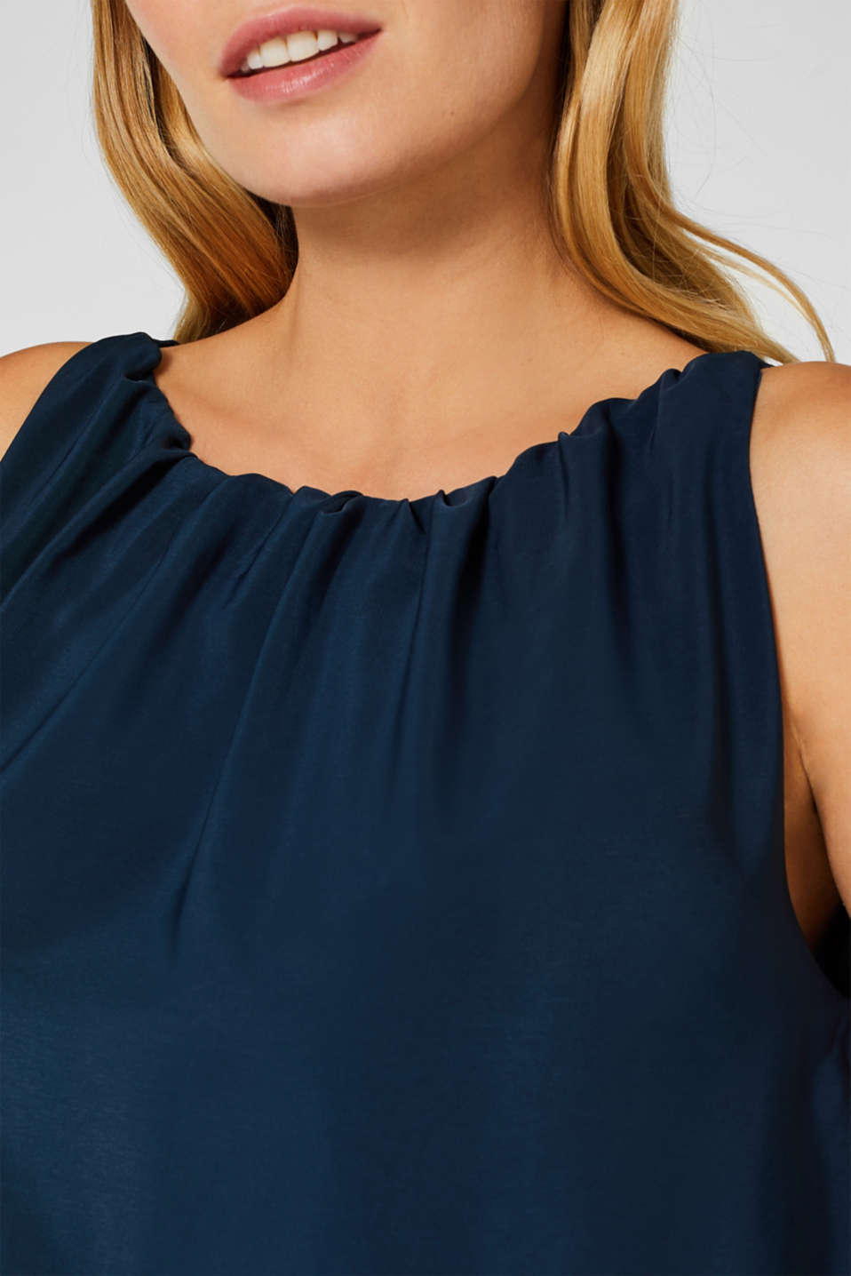 Iridescent smock dress with gathered necklines, LCNIGHT BLUE, detail image number 2
