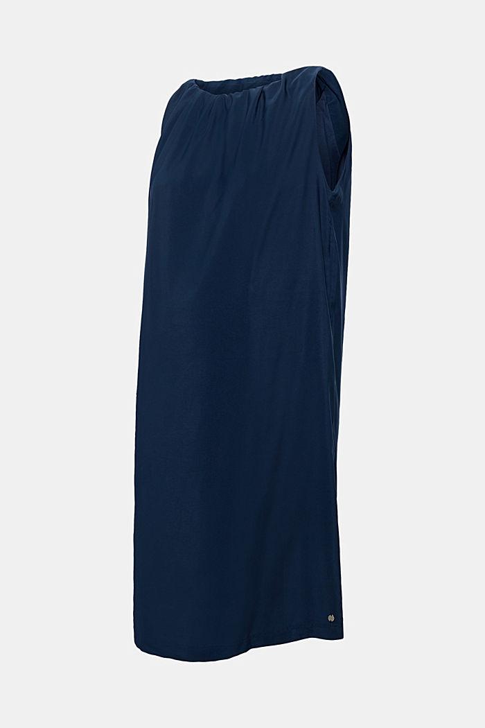 Sukienka rozszerzana ku dołowi z połyskiem i marszczonymi wycięciami, NIGHT BLUE, detail image number 0