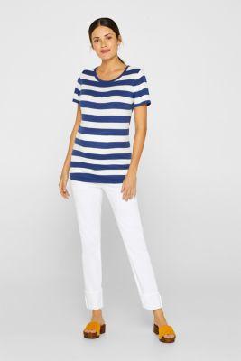 Striped fine-knit T-shirt, 100% cotton, LCDARK BLUE, detail