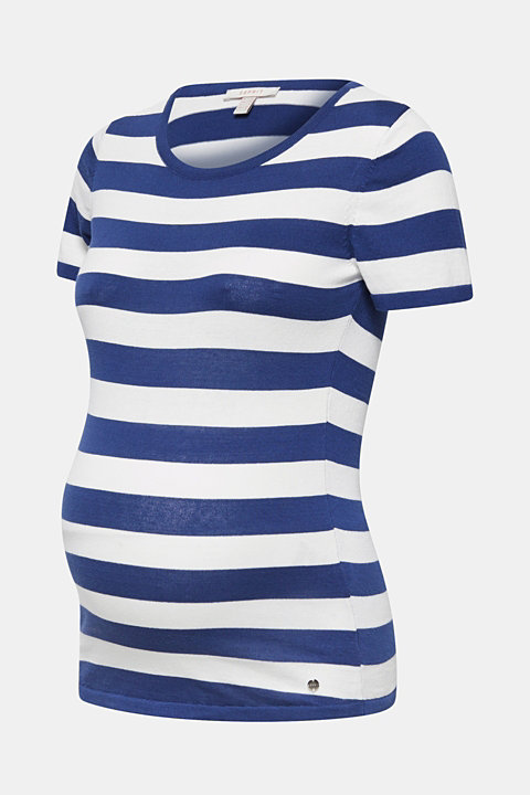 Striped fine-knit T-shirt, 100% cotton